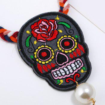 Embroidery Skull Flower Tassel Rope Pendant Necklace - RED