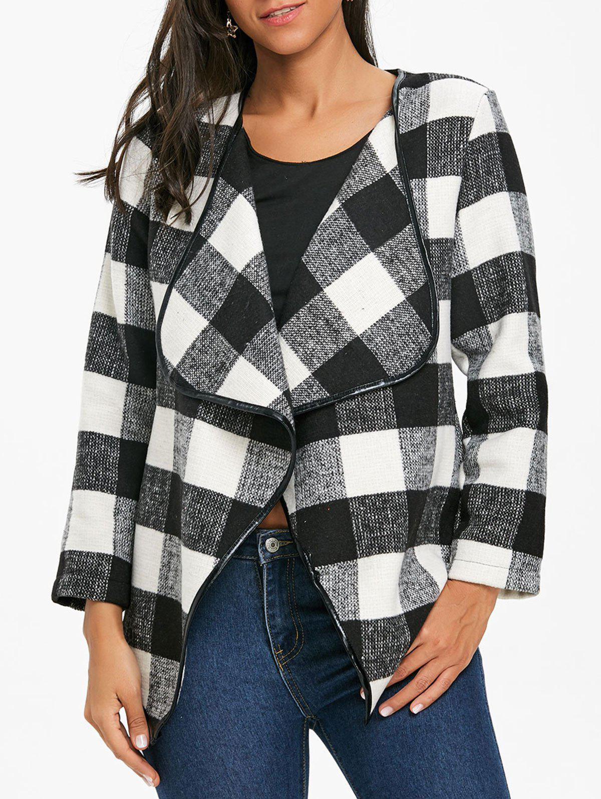Asymmetrical Open Front Plaid Coat - WHITE/BLACK L