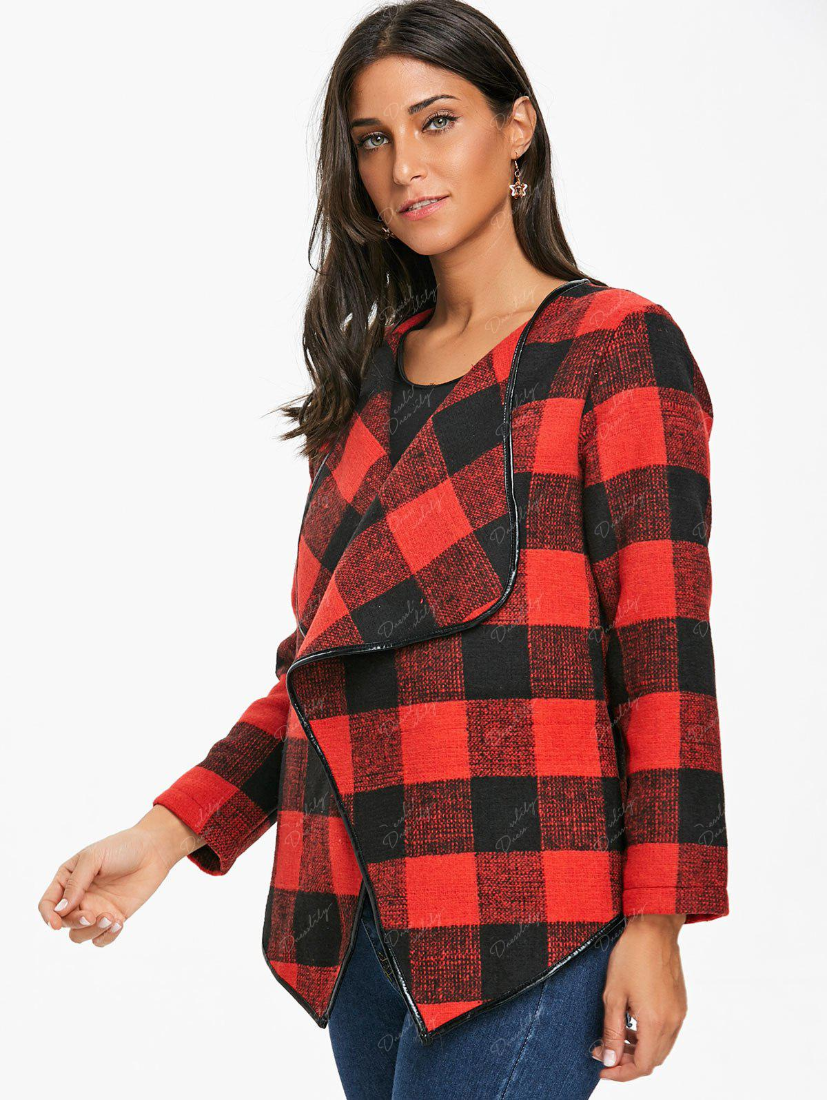 Asymmetrical Open Front Plaid Coat - DEEP RED M