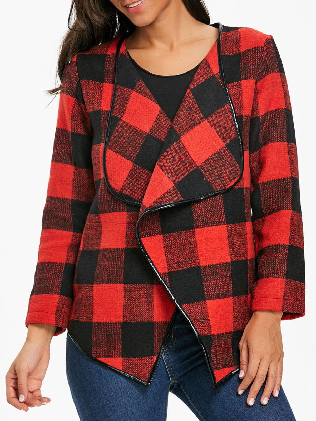 Asymmetrical Open Front Plaid Coat - DEEP RED S