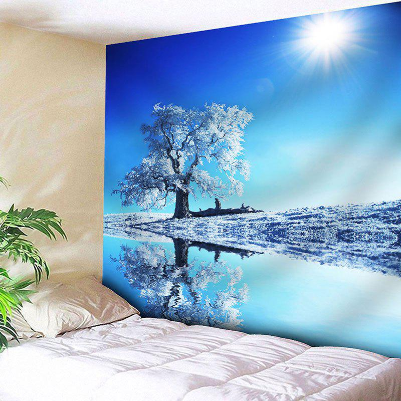Winter Sunshine Snow Tree Reflection Wall Art Tapestry - BLUE W59 INCH * L51 INCH