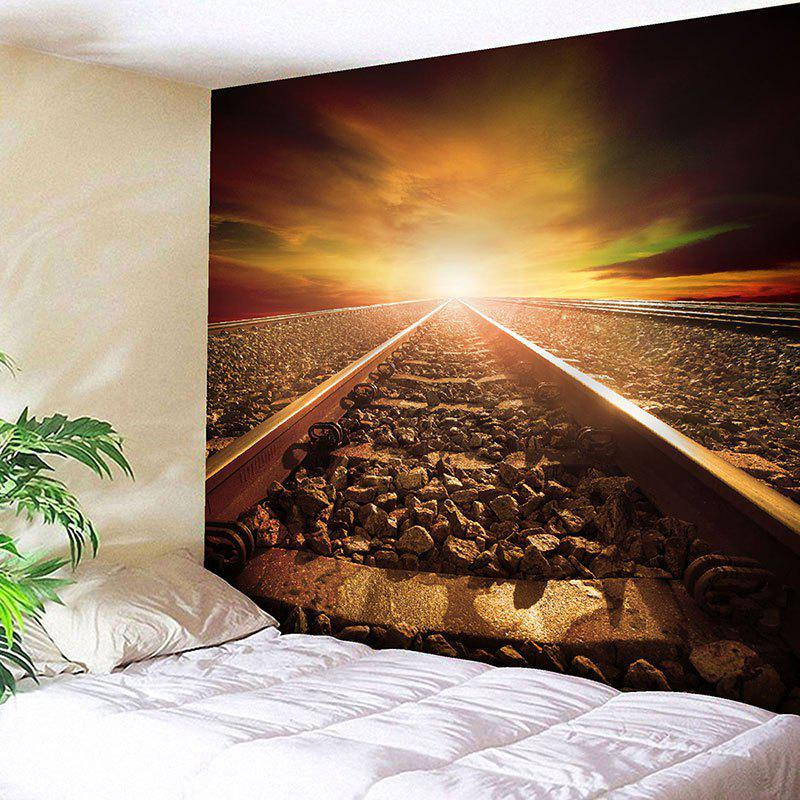 Sunset Railway Printed Wall Hanging Tapestry - BROWN W91 INCH * L71 INCH