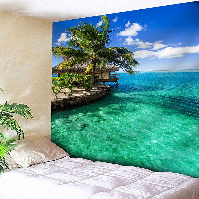 Wall Hanging Seaside Scenery Print Tapestry - GREEN W91 INCH * L71 INCH