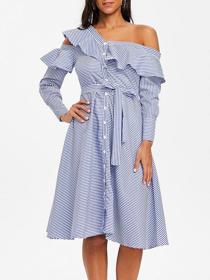 Skew Neck Striped Ruffled Dress - BLUE S