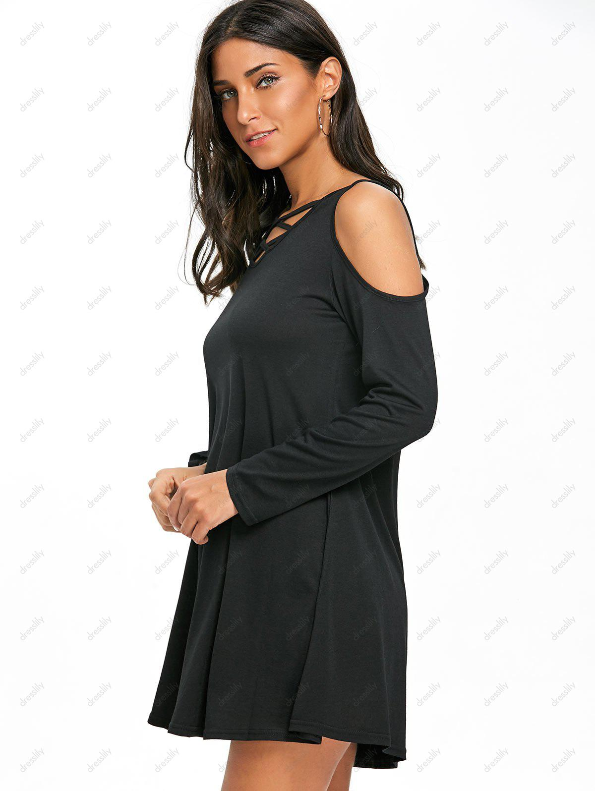 Criss Cross Cold Shoulder Mini Swing Dress - BLACK XL