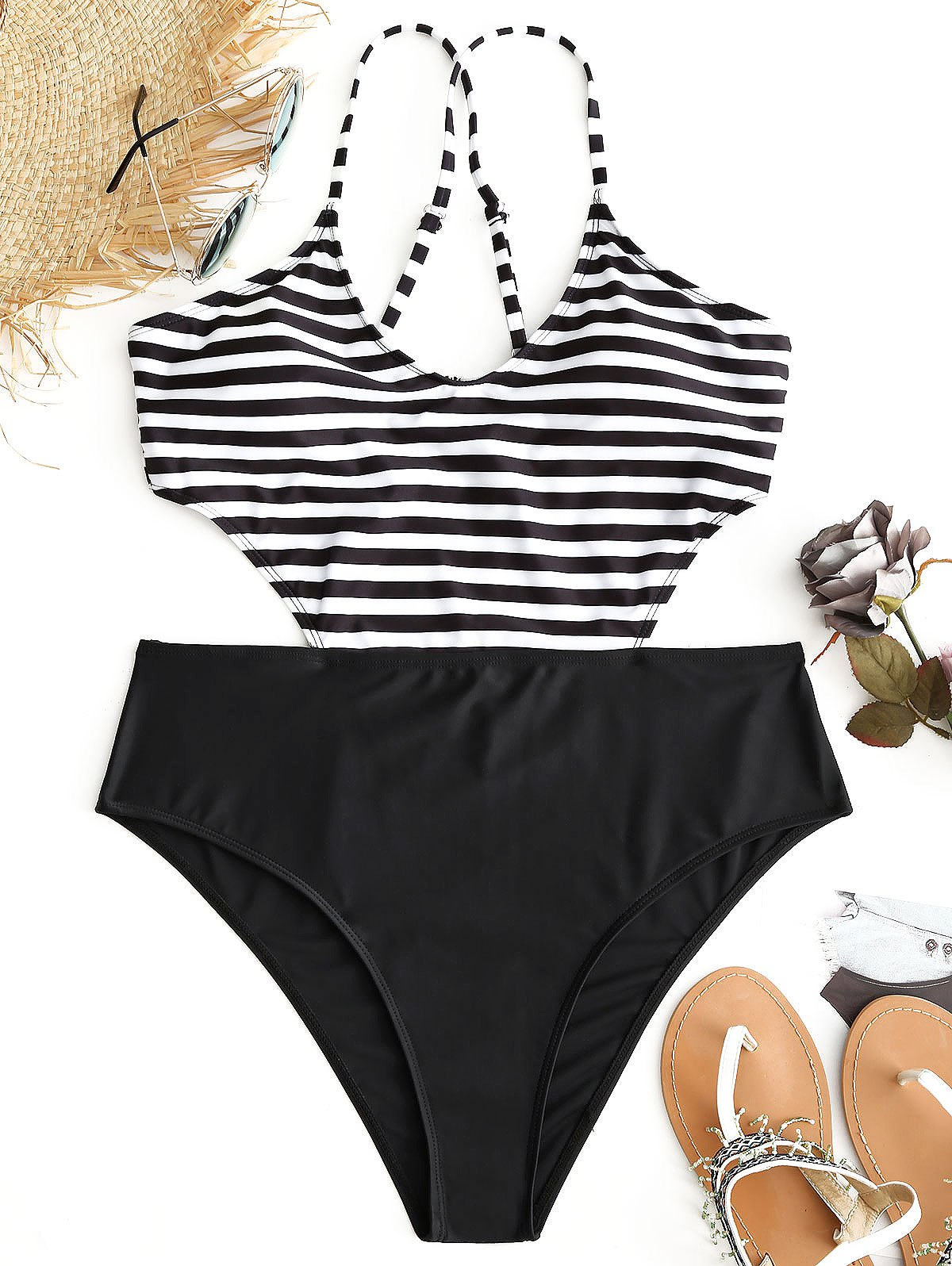 Striped Plus Size Monokini