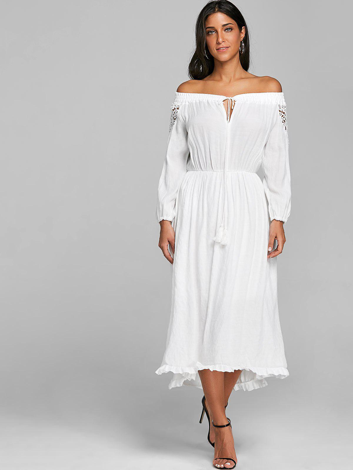 Crochet High Low Off The Shoulder Dress - WHITE L