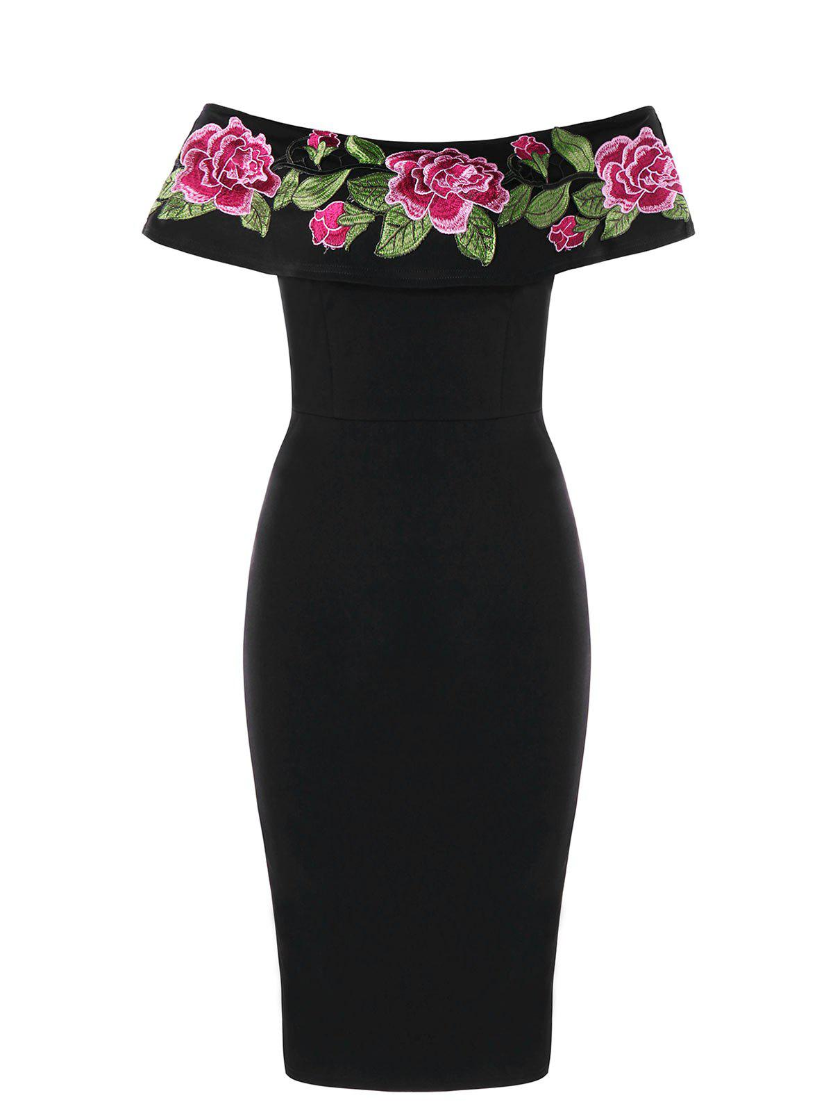 Off The Shoulder Flower Embroidered Bodycon Dress - BLACK 2XL