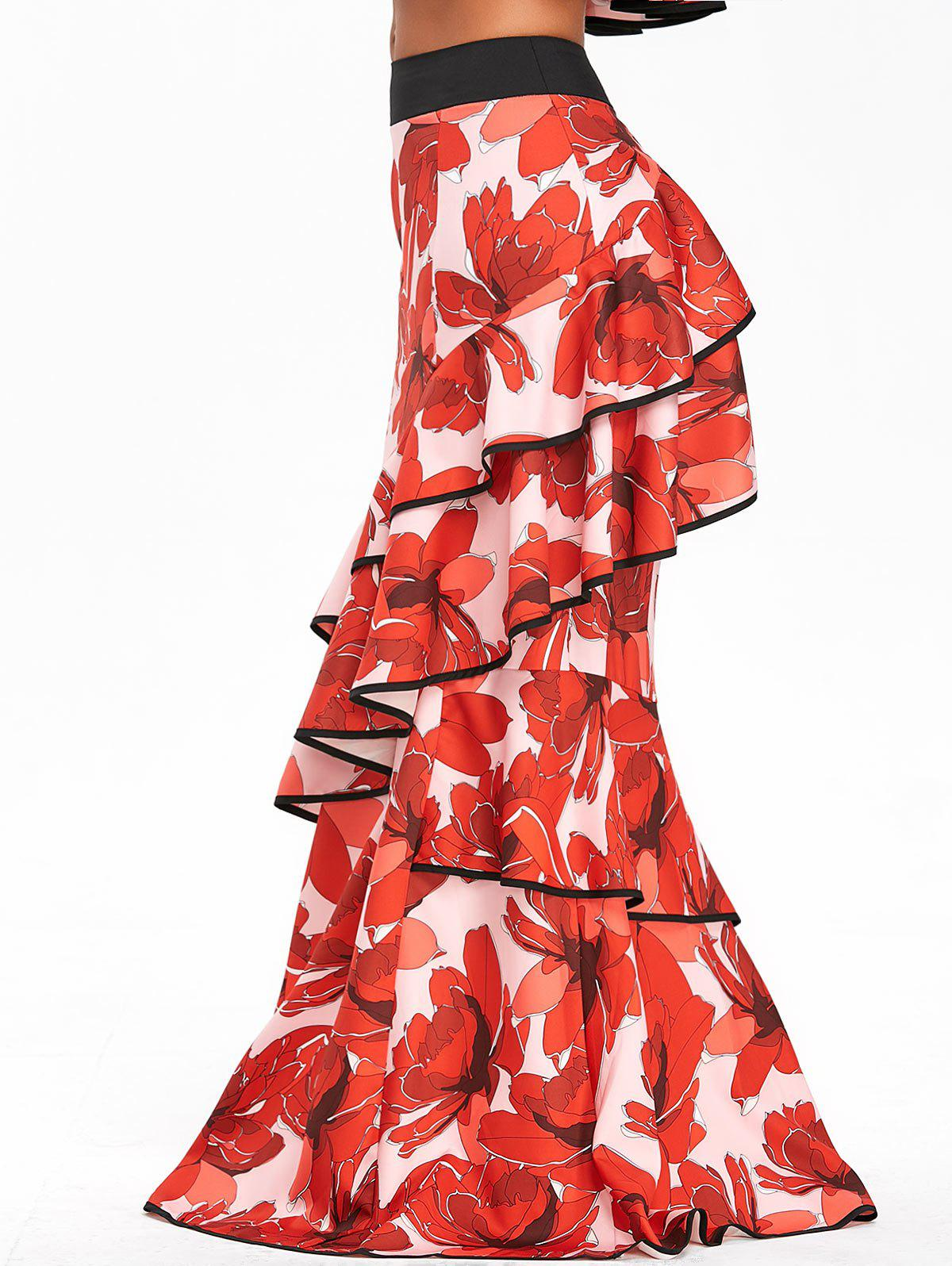 Ruffled High Waisted Floral Print Maxi Skirt - RED L