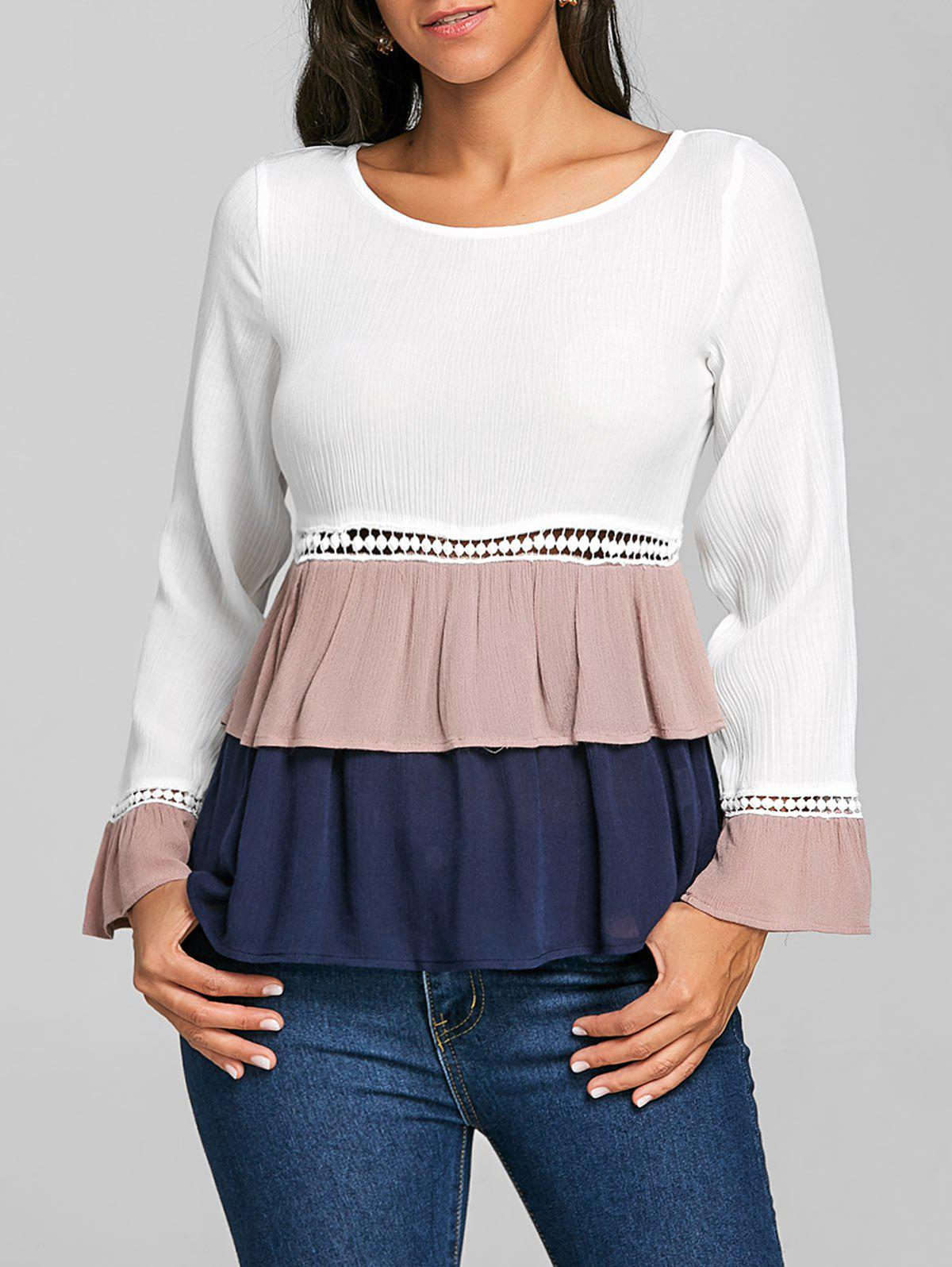 Color Block Bell Sleeve Peplum Blouse - WHITE XL