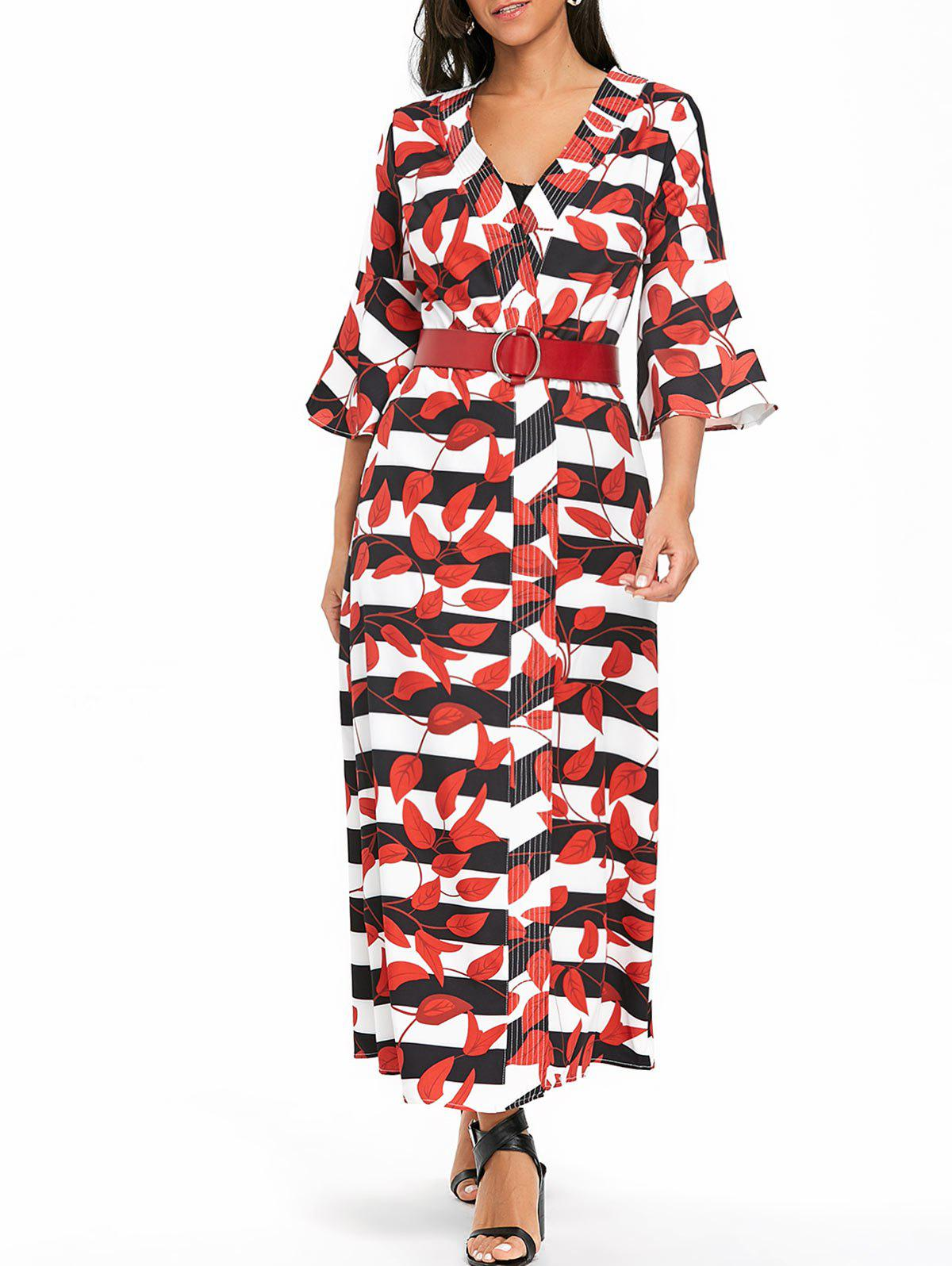 Leaves Print Bell Sleeve Striped Maxi Coat - RED 2XL