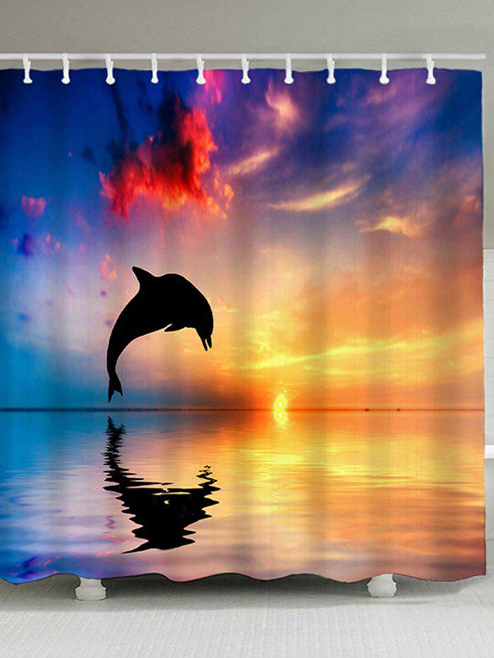 Sunset Jumping Dolphin Waterproof Polyester Shower Curtain бра idlamp 877 1a darkchrome
