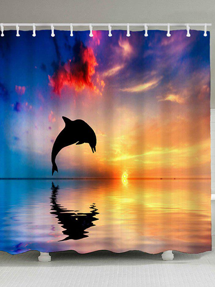 Sunset Jumping Dolphin Waterproof Polyester Shower Curtain - COLORMIX W71 INCH * L79 INCH