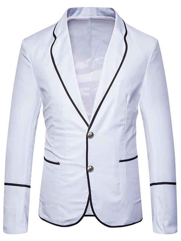 Edging Single Breasted Casual Blazer - WHITE 2XL