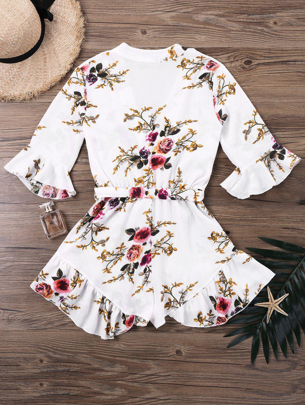 Floral Printed Belted Faux Wrap Romper - COLORMIX L