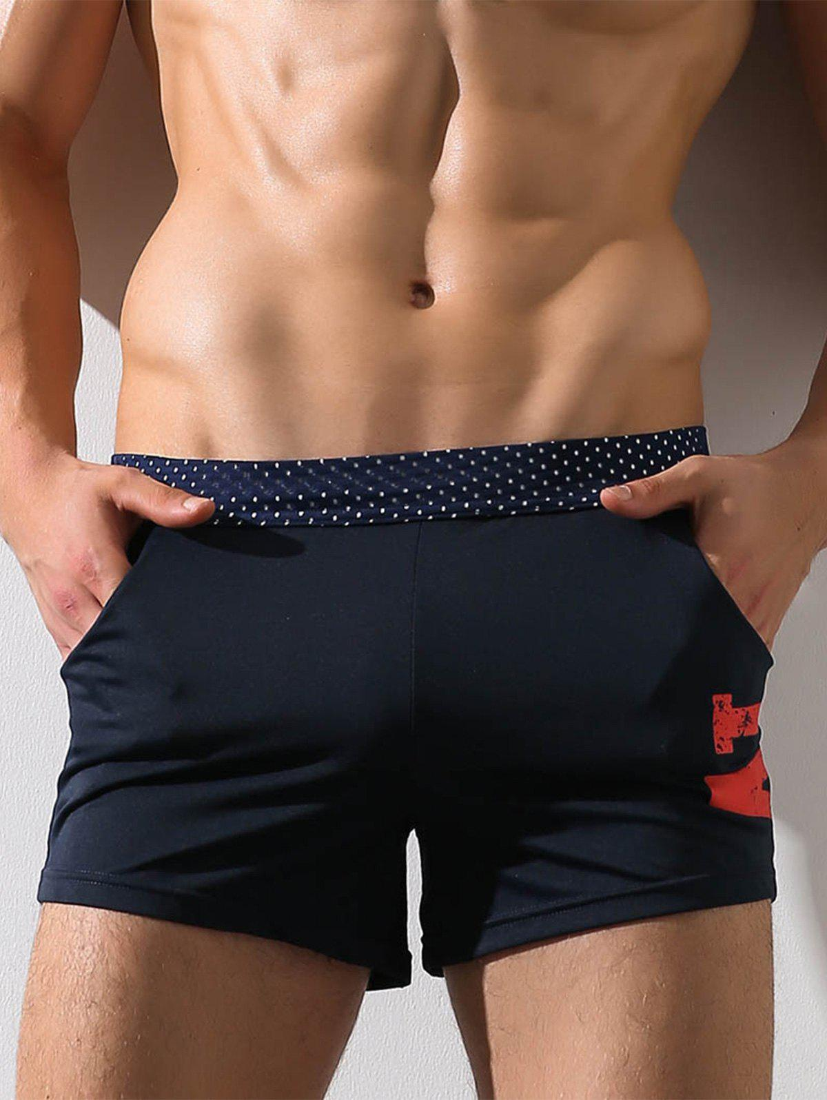Graphic Print Openwork Boxer Brief - NAVY BLUE L