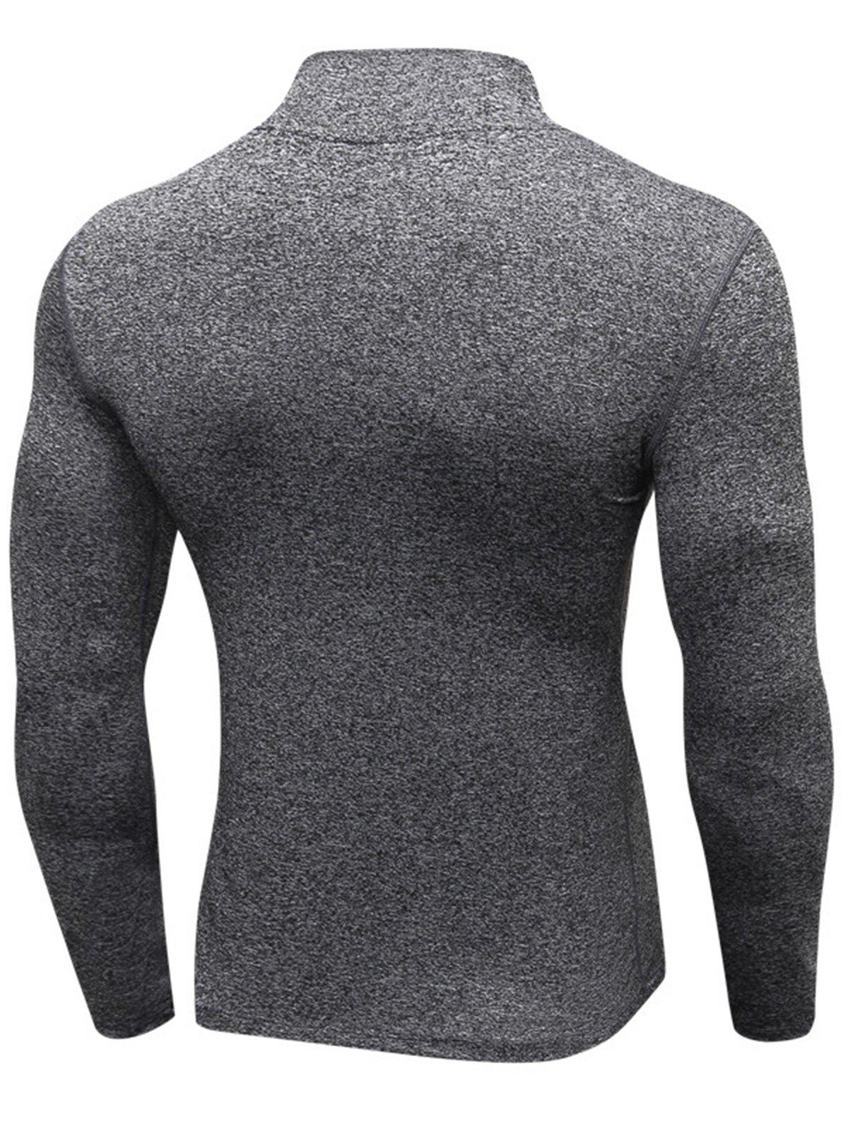 Quick Dry Stand Collar Half Zip Stretchy T-shirt - GRAY L