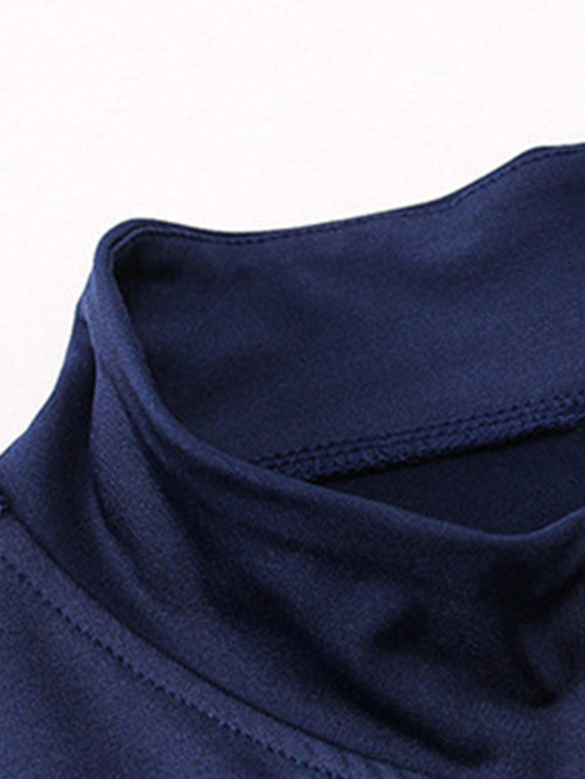 Quick Dry Stand Collar Half Zip Stretchy T-shirt - CADETBLUE 2XL