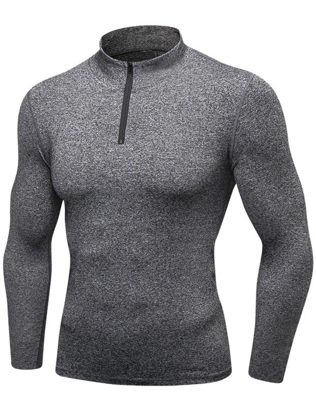 Quick Dry Stand Collar Half Zip Stretchy T-shirt - GRAY 2XL