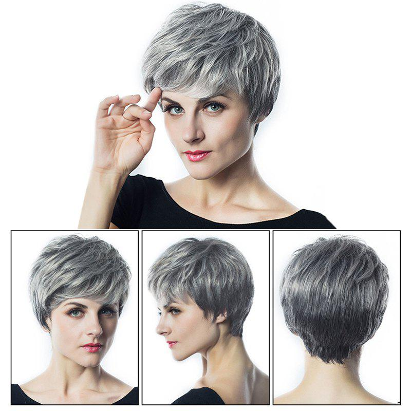 Short Oblique Bang Fluffy Layered Slightly Curly Synthetic Wig - SILVER GRAY
