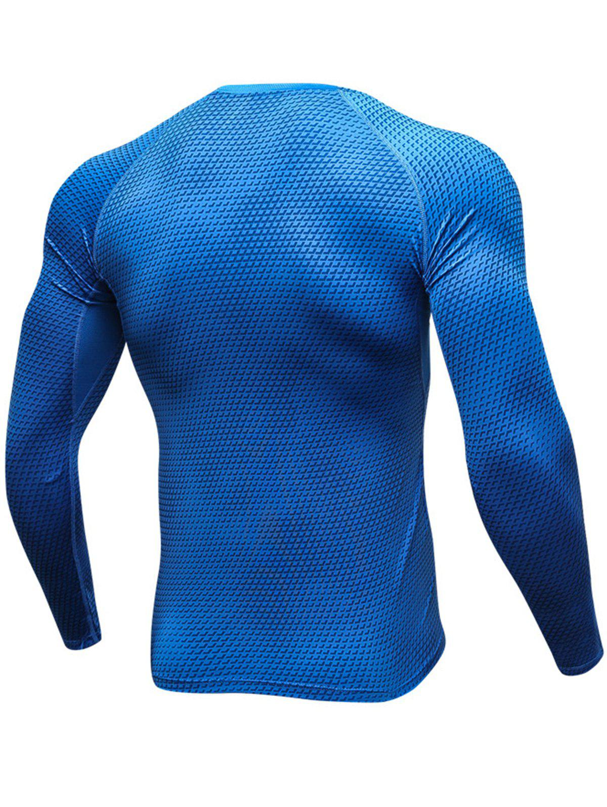 3D Geometric Print Stretchy Quick Dry T-shirt - BLUE XL