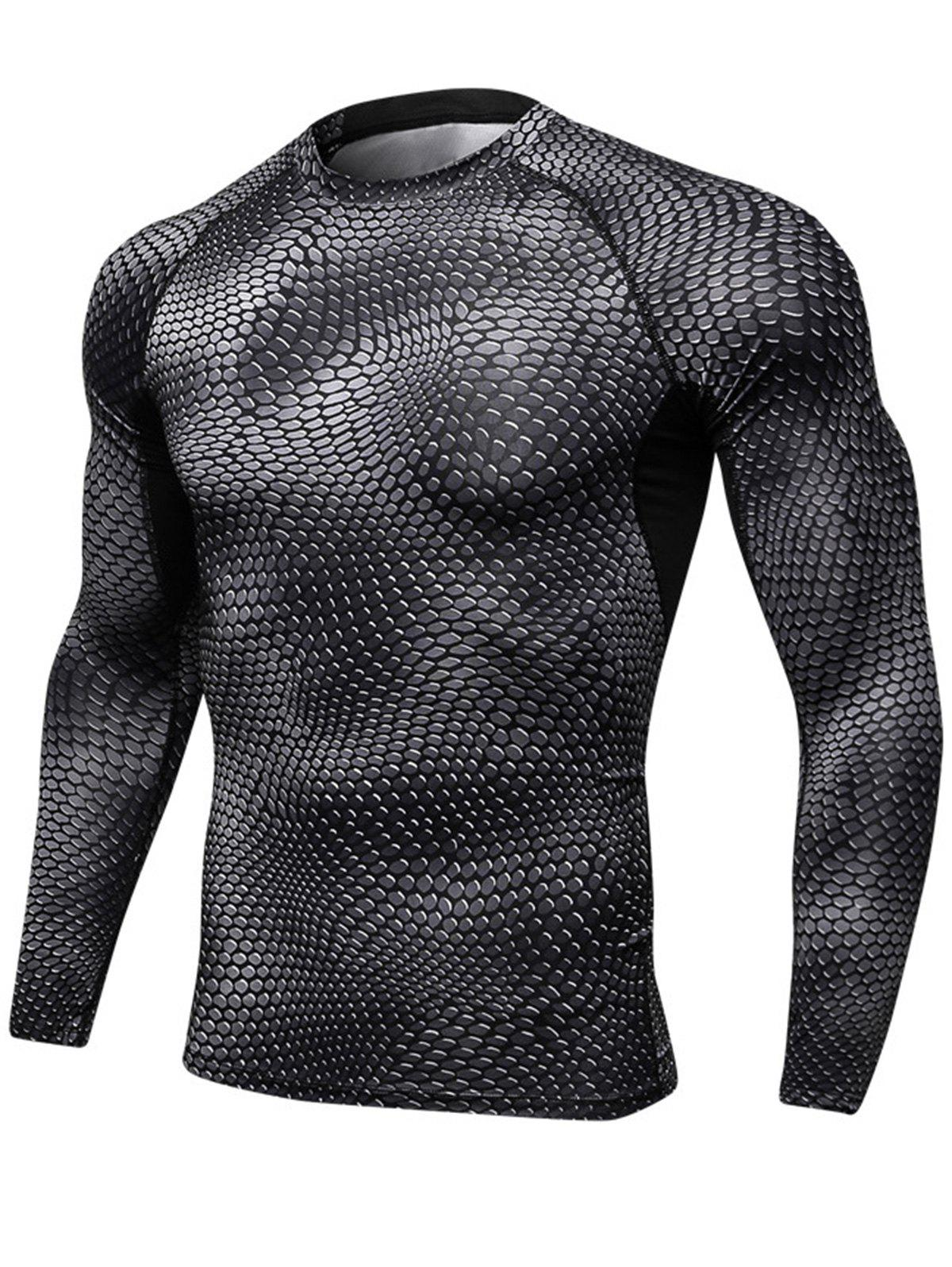 Quick Dry Stretchy 3D Printed Long Sleeve T-shirt - BLACK XL
