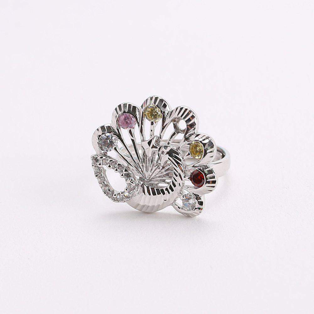 Delicate Colorful Faux Crystals Peacock Ring - SILVER ONE-SIZE