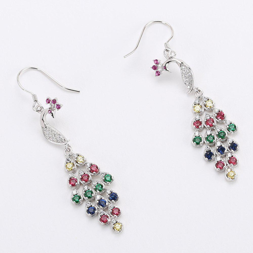 Peacock Shaped Colorful Crystal Sliver Drop Earrings - COLORMIX
