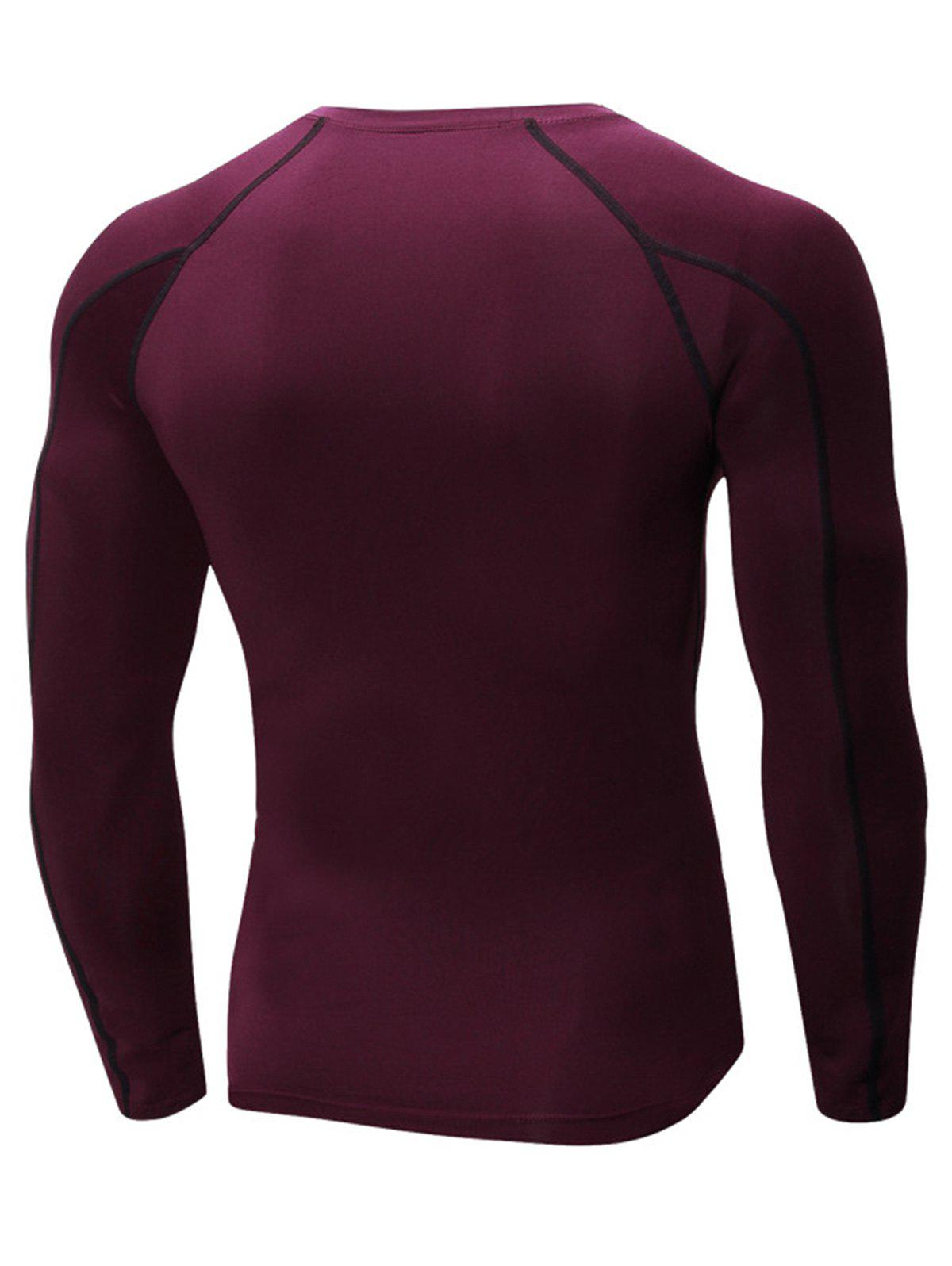 Stretchy Quick Dry Suture Long Sleeve T-shirt - WINE RED L