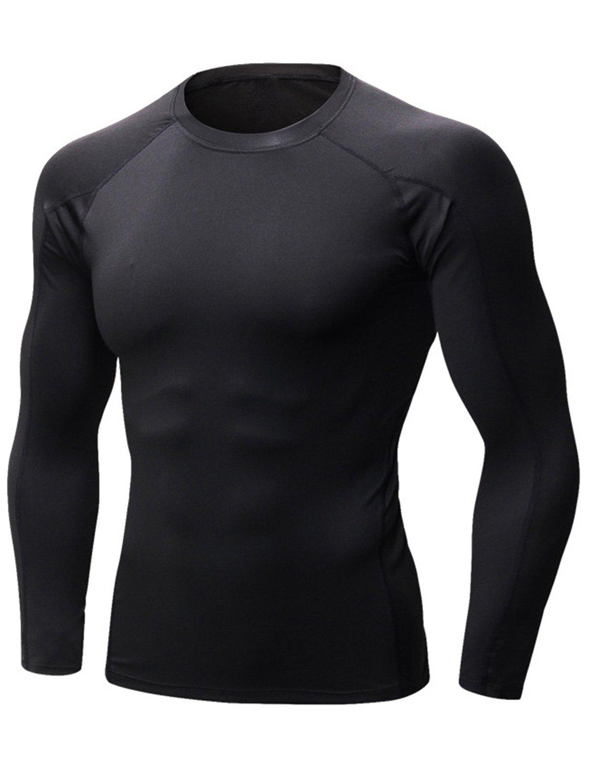 Stretchy Quick Dry Suture Long Sleeve T-shirt - BLACK XL