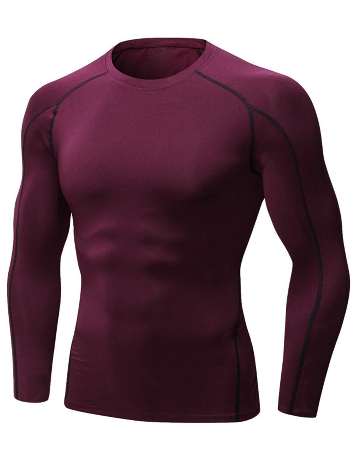 Stretchy Quick Dry Suture Long Sleeve T-shirt - WINE RED XL