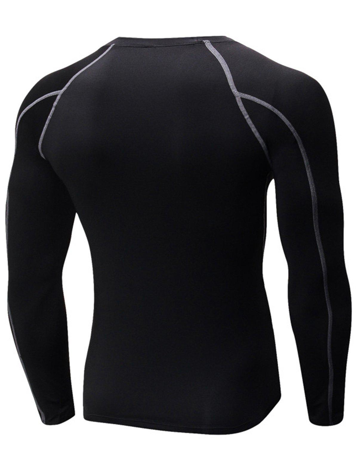 Stretchy Quick Dry Suture Long Sleeve T-shirt - BLACK/GREY 2XL