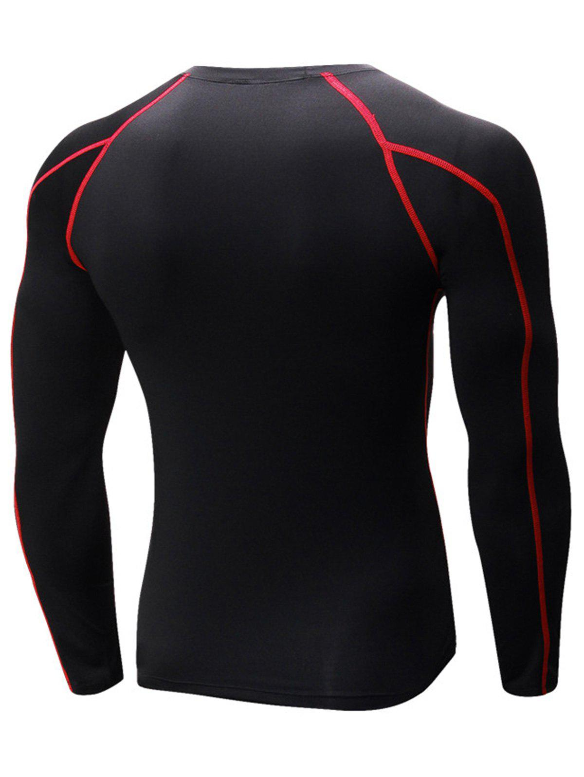 Stretchy Quick Dry Suture Long Sleeve T-shirt - BLACK/RED 2XL
