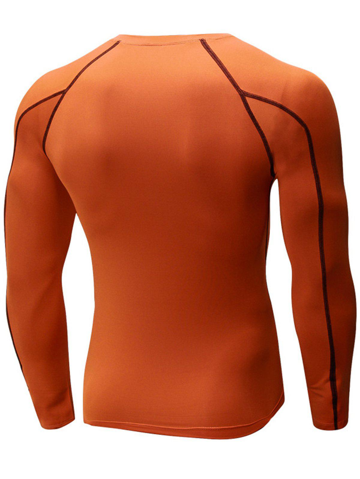 Stretchy Quick Dry Suture Long Sleeve T-shirt - JACINTH XL