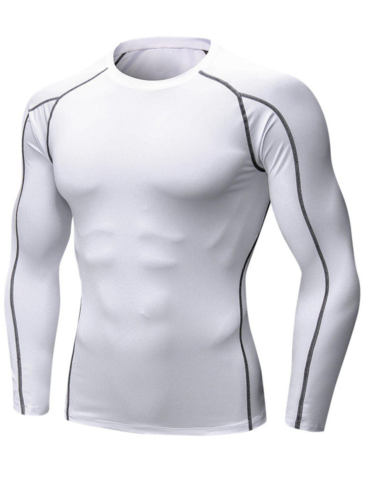 Stretchy Quick Dry Suture Long Sleeve T-shirt - WHITE XL
