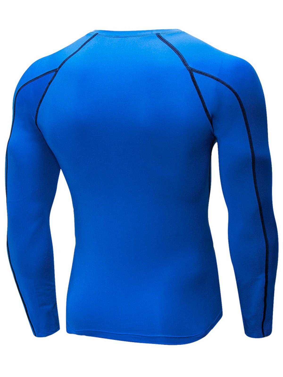 Stretchy Quick Dry Suture Long Sleeve T-shirt - BLUE L