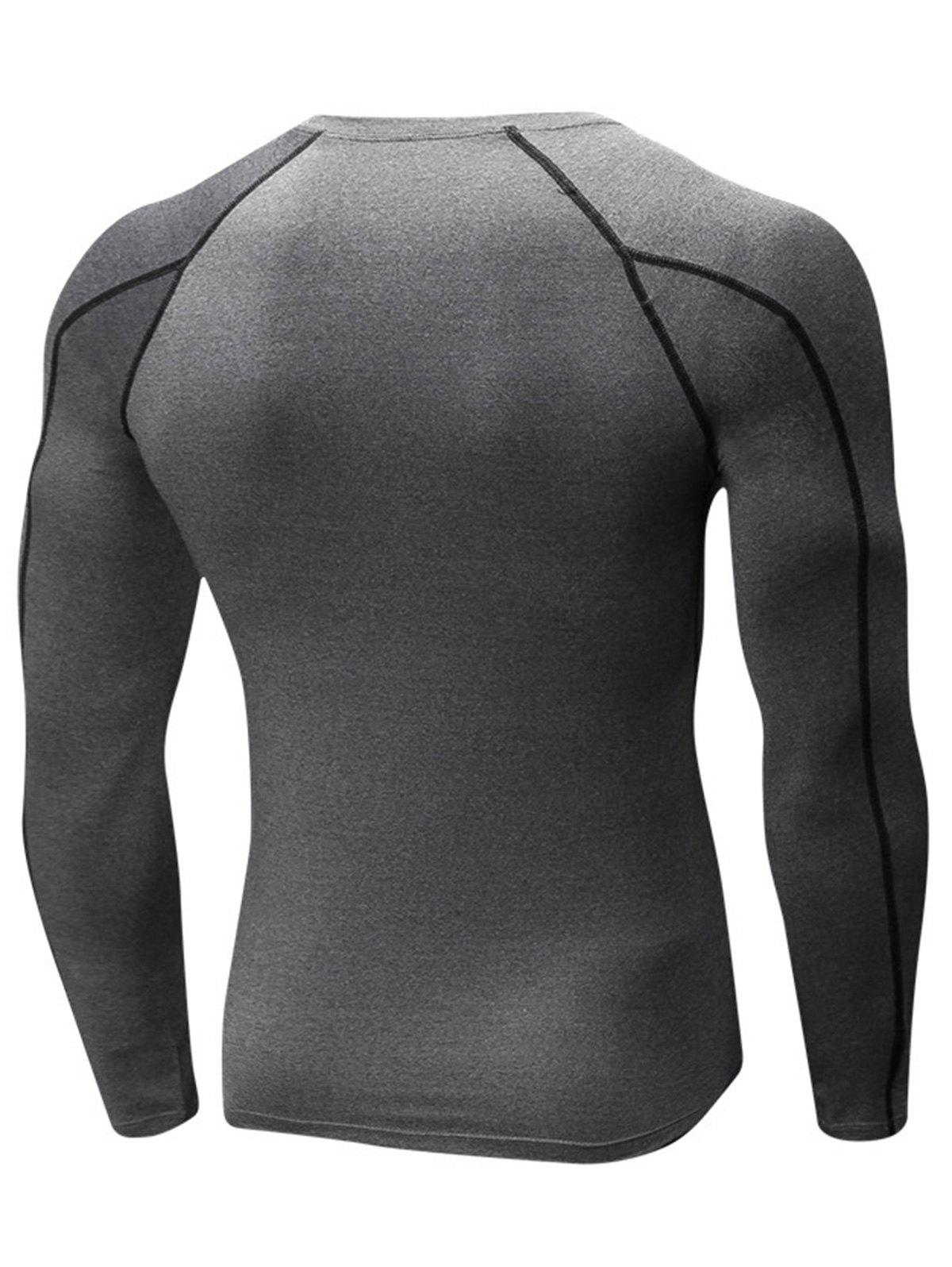 Stretchy Quick Dry Suture Long Sleeve T-shirt - GRAY 2XL