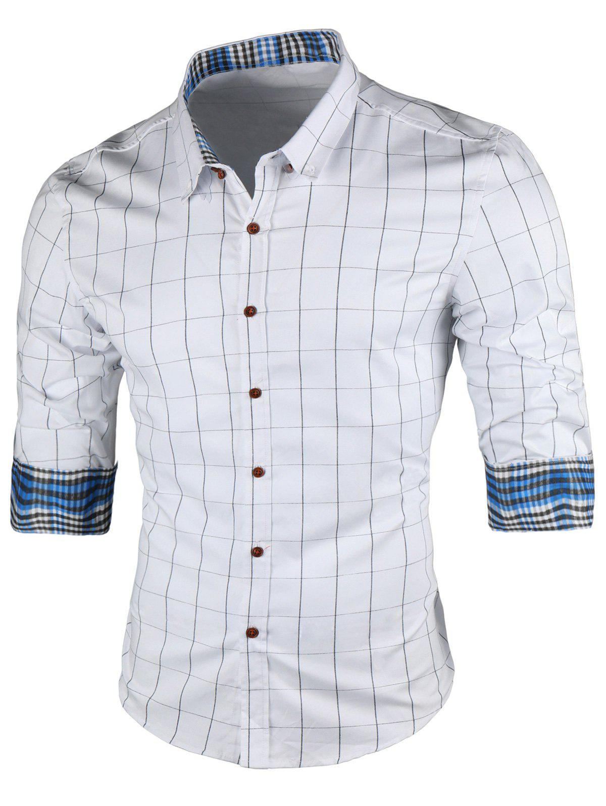 Point Collar Long Sleeve Checked Shirt - WHITE 5XL