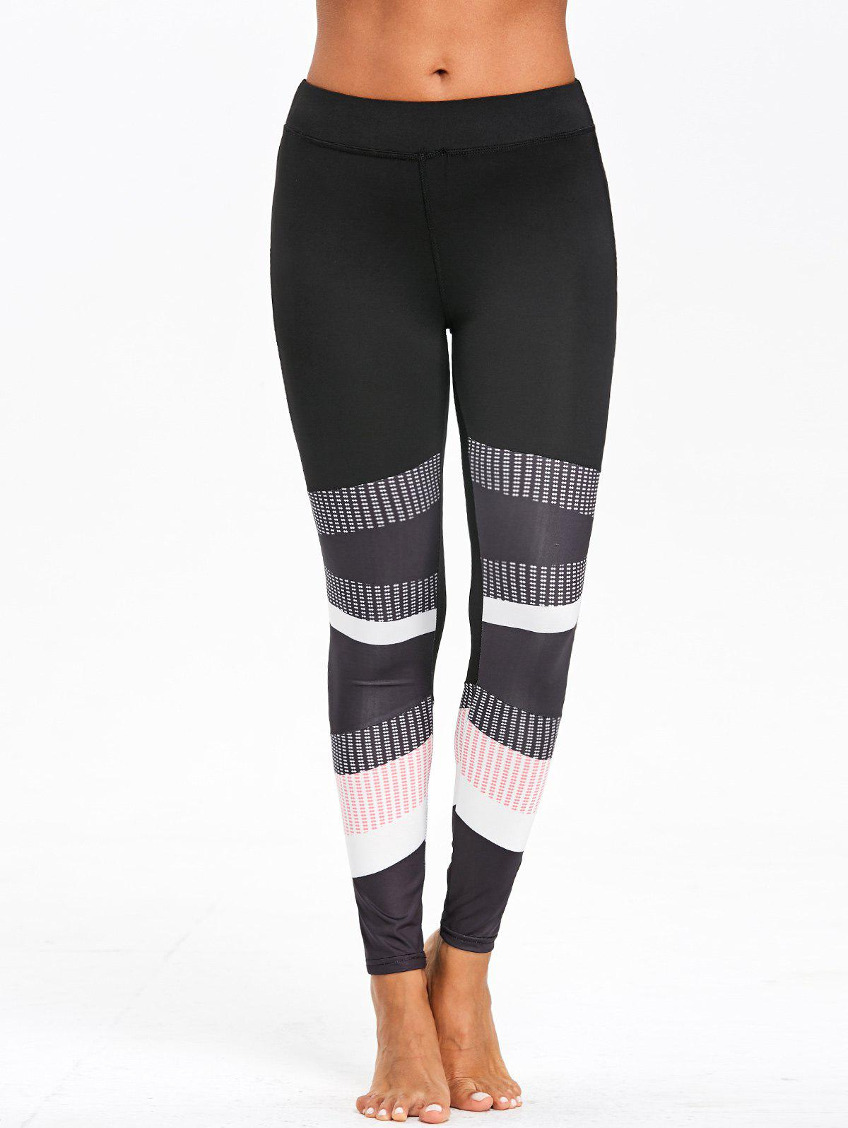 Skinny Graphic Color Block Leggings - COLORMIX S