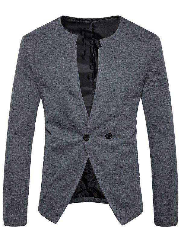 Casual Double Button Collarless Blazer - GRAY M