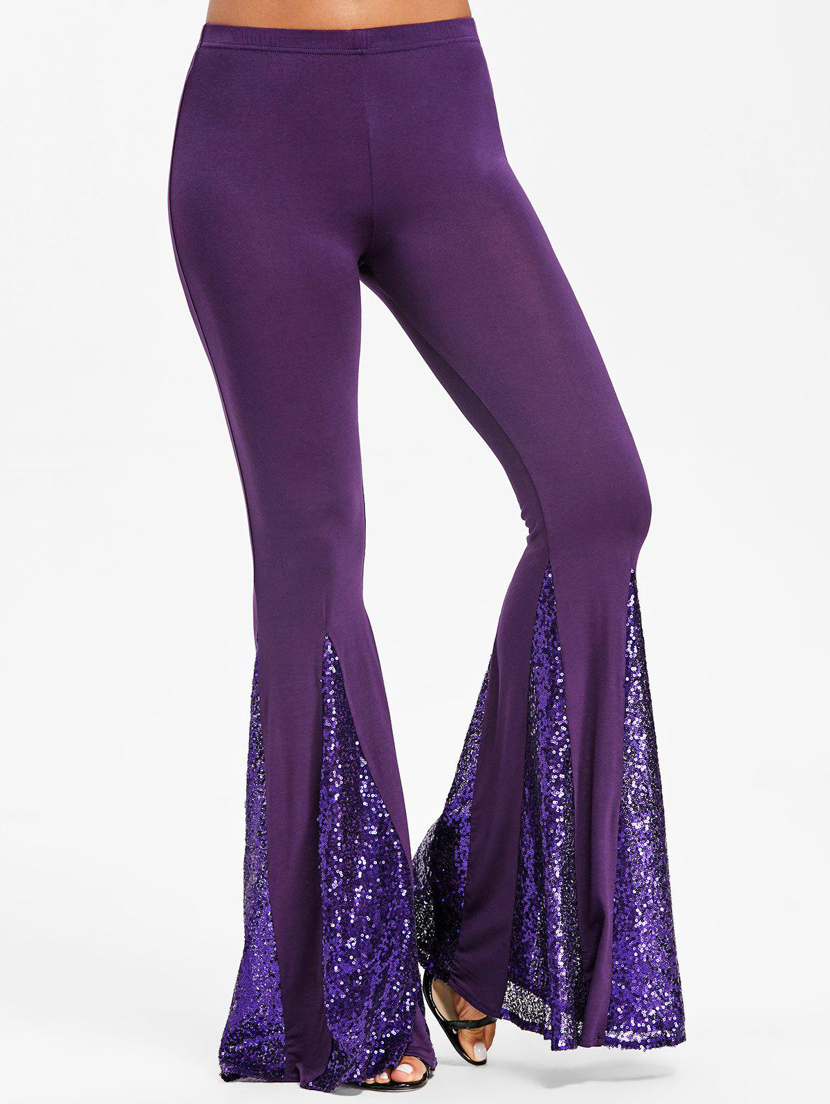 Sequined Flare Pants - PURPLE L