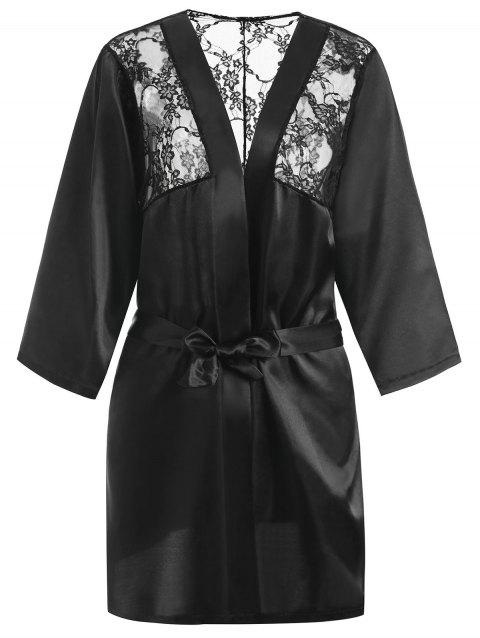 Lace Insert Plus Size Wrap Robe Lingerie - BLACK 3XL