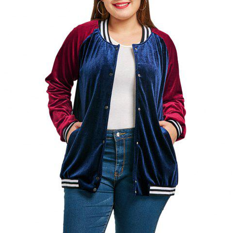 Raglan Sleeve Velvet Plus Size Baseball Jacket - CADETBLUE 5XL
