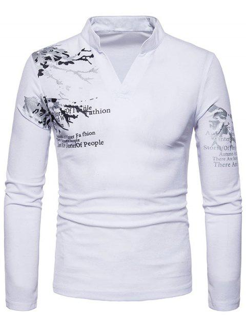 162280c8 41% OFF] 2019 Long Sleeve Split Neck Graphic Tee In WHITE M ...
