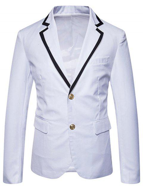 Edging Collar Single Breasted Blazer - WHITE 2XL