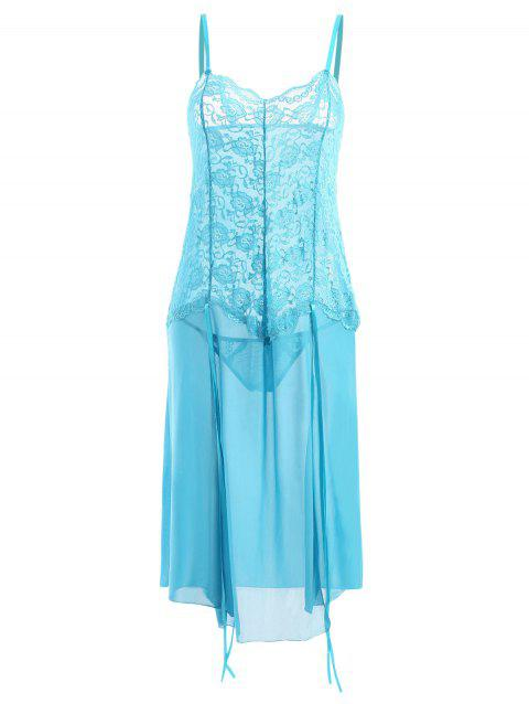 a516e3bac75 LIMITED OFFER  2019 Plus Size High Slit Lace Sheer Babydoll In BLUE ...