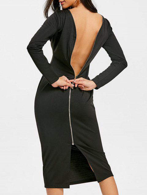 Back Zip Up Long Sleeve Bodycon Dress - BLACK L