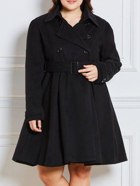 Plus Size Double Breast Long Dressy Coat - BLACK 2XL