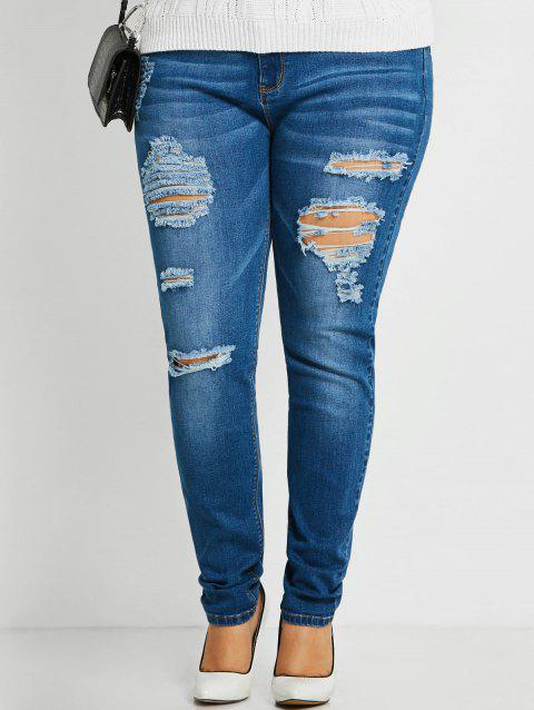 Plus Size Slim Ripped Jeans - BLUE 2XL