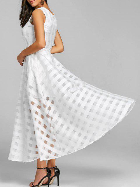 Fit and Flare Sleeveless Maxi Dress - WHITE M